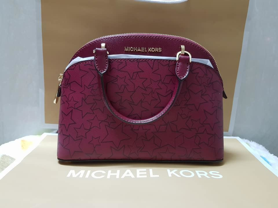 80507d1d9f09 Picture of MICHAEL KORS EMMY SMALL DOME SATCHEL XBODY BAG PATENT SAFFIANO  LEATHER CHERRY