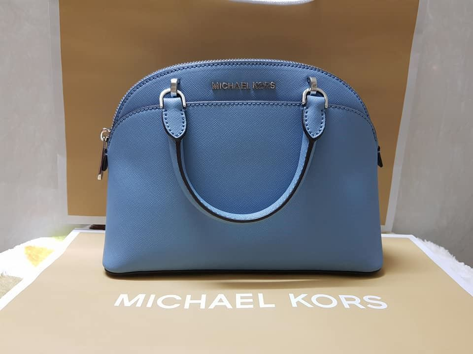 b75503c57214 MICHAEL KORS EMMY SMALL DOME SATCHEL XBODY BAG PATENT SAFFIANO LEATHER  CHERRY